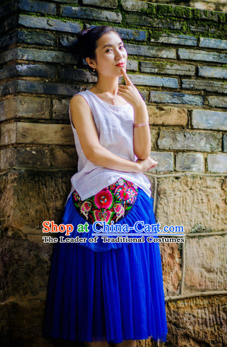 Traditional Handmade Chinese National Embroidery Miao Nationality Waist Pocket Blue Belt for Women