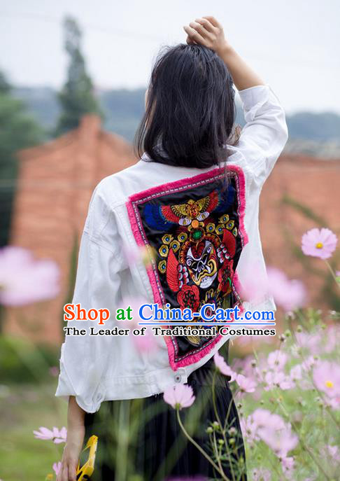 Traditional Chinese National Costume Short Coat, Elegant Hanfu Embroidered Jacket for Women