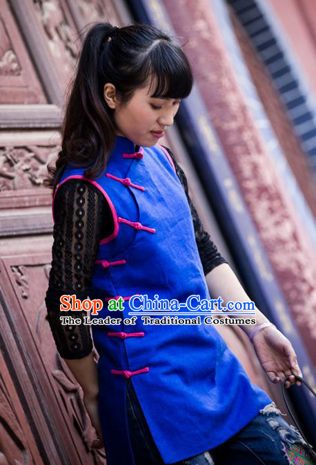 Traditional Chinese National Costume Cheongsam Vest, Elegant Hanfu Tang Suit Plated Buttons Waistcoat for Women