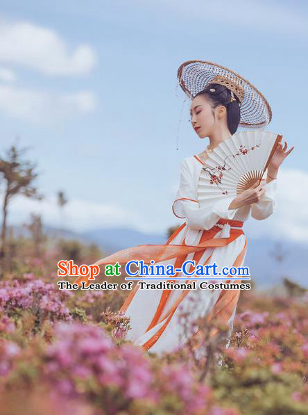 Traditional Ancient Chinese Young Lady Costume Embroidery Half-Sleeves Blouse and Skirt Complete Set, Elegant Hanfu Clothing Chinese Song Dynasty Imperial Princess Clothing for Women