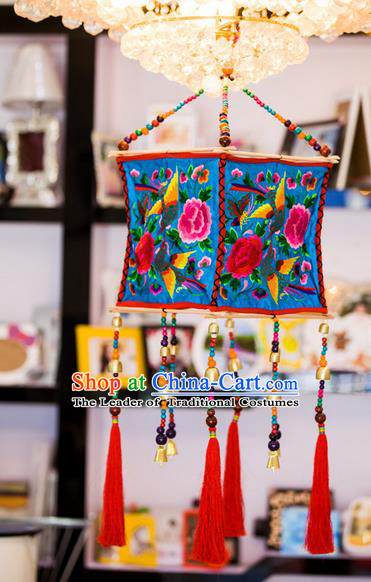Traditional Handmade Chinese National Lampshade Embroidery Miao Nationality Blue Lamp Screen