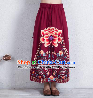Traditional Chinese National Costume Linen Half Skirt, Elegant Hanfu Embroidered Peony Tang Suit Wine Red Bust Skirt for Women