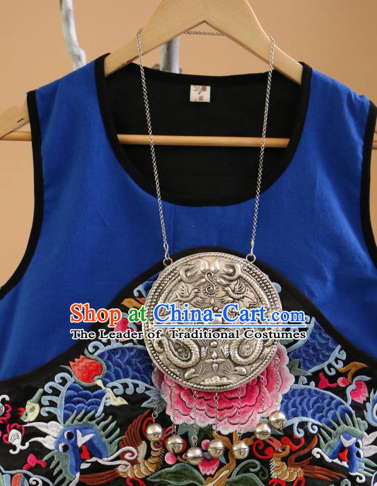 Traditional Handmade Chinese National Miao Nationality Sliver Necklace Bells Tassel Carving Collar for Women