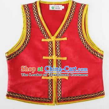 Traditional Chinese Mongol Nationality Dance Costume, Mongols Children Folk Dance Ethnic Vest, Chinese Mongolian Minority Nationality Embroidery Red Waistcoat for Kids
