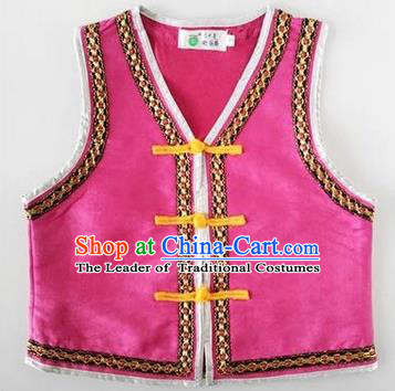 Traditional Chinese Mongol Nationality Dance Costume, Mongols Children Folk Dance Ethnic Vest, Chinese Mongolian Minority Nationality Embroidery Pink Waistcoat for Kids
