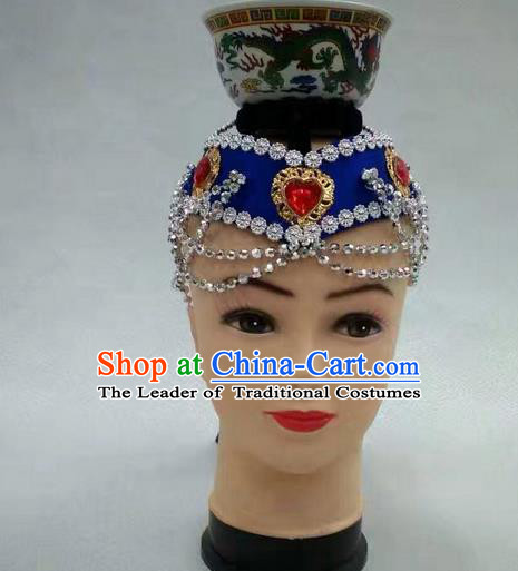 Traditional Handmade Chinese Mongol Nationality Dance Royalblue Hair Accessories Headwear, China Mongols Mongolian Minority Nationality Bride Headpiece for Women