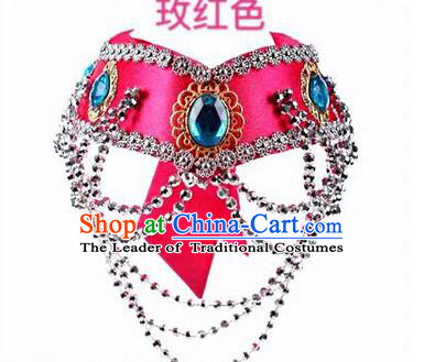Traditional Handmade Chinese Mongol Nationality Dance Rosy Hair Accessories Headband, China Mongols Mongolian Minority Nationality Bride Headpiece for Women