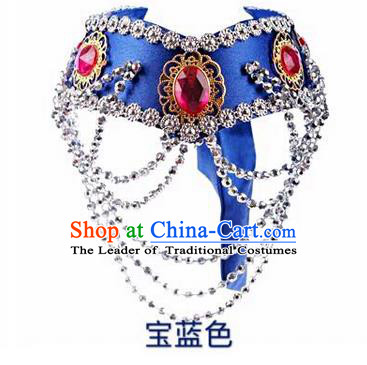 Traditional Handmade Chinese Mongol Nationality Dance Royalblue Hair Accessories Headband, China Mongols Mongolian Minority Nationality Bride Headpiece for Women