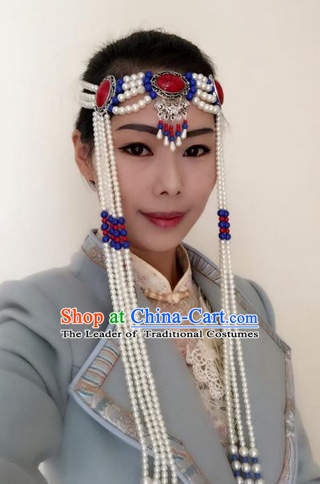 Traditional Handmade Chinese Mongol Nationality Dance White Beads Hair Accessories Headwear, China Mongols Mongolian Minority Nationality Bride Headpiece for Women