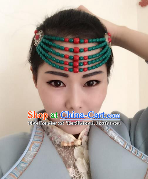 Traditional Handmade Chinese Mongol Nationality Dance Green Beads Hair Accessories Headwear, China Mongols Mongolian Minority Nationality Bride Headpiece for Women