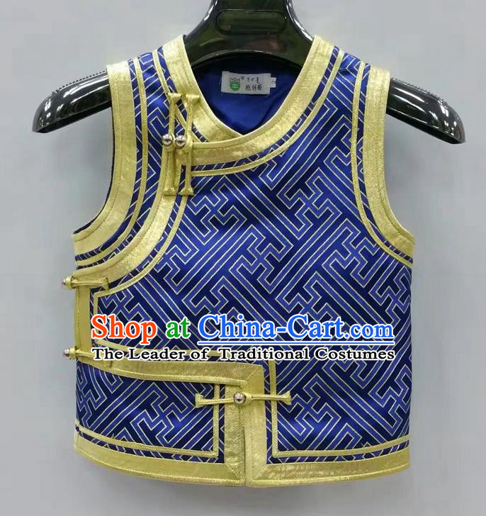 Traditional Chinese Mongol Nationality Prince Dance Costume, Mongols Children Folk Dance Ethnic Vest, Chinese Mongolian Minority Nationality Embroidery Royalblue Waistcoat for Kids