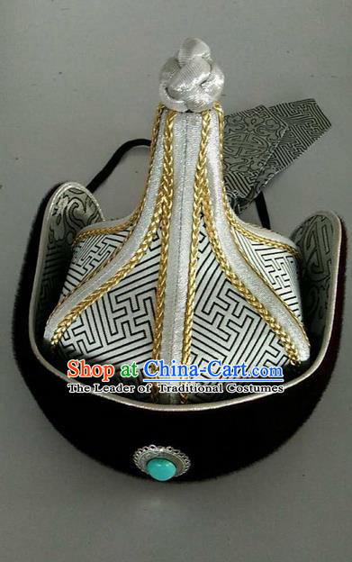 Traditional Handmade Chinese Mongol Nationality Dance Hair Accessories Royal Highness Hat, China Mongols Mongolian Minority Nationality Bridegroom Headpiece for Men