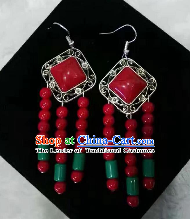 Traditional Handmade Chinese  Mongol Nationality Dance Accessories Earrings, China Mongols Mongolian Minority Nationality Princess Red Beads Tassel Eardrop for Women