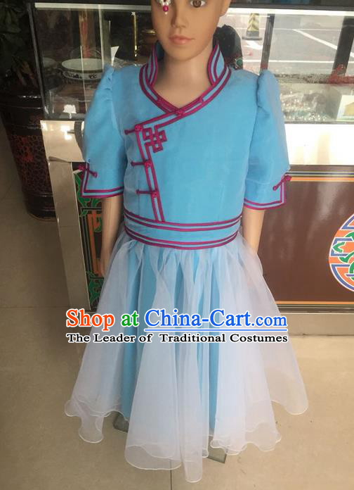 Traditional Chinese Mongol Nationality Dance Costume, Mongols Children Folk Dance Ethnic Robes, Chinese Mongolian Minority Nationality Embroidery Dress Clothing for Kids