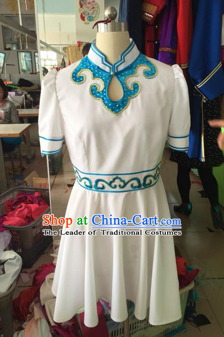 Traditional Chinese Mongol Nationality Dance Costume Mongol Robes, Chinese Mongolian Minority Nationality Embroidery Dress Clothing for Women