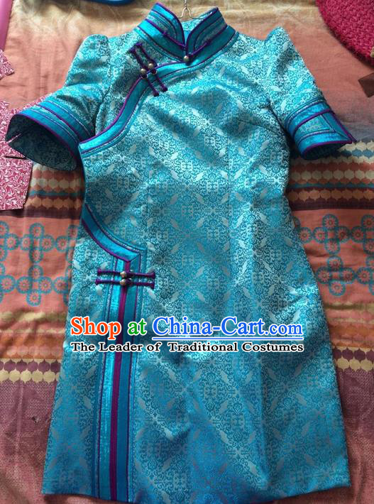 Traditional Chinese Mongol Nationality Dance Costume Blue Mongol Robes, Chinese Mongolian Minority Nationality Embroidery Dress Clothing for Women