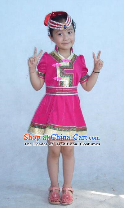 Traditional Chinese Mongol Nationality Dance Costume Children Pink Mongol Robe, China Mongolian Minority Nationality Embroidery Dress Clothing for Kids