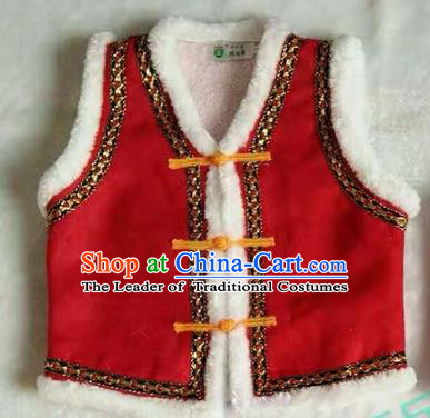 Traditional Chinese Mongol Nationality Dance Costume Children Red Mongol Vest, China Mongolian Minority Nationality Waistcoat Clothing for Kids