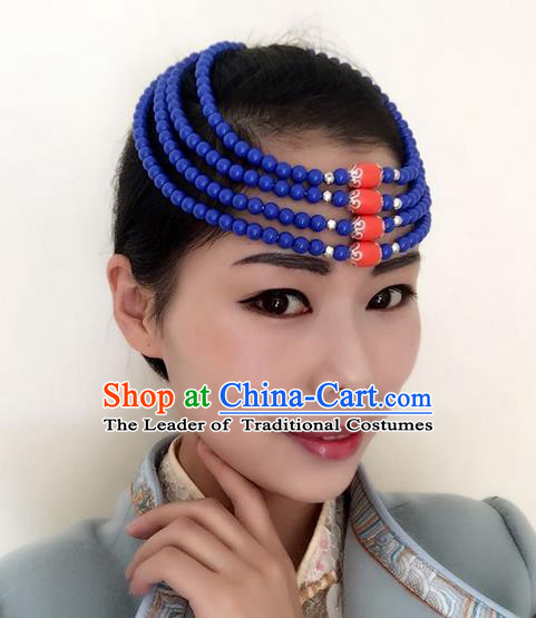 Traditional Handmade Chinese Mongol Nationality Dance Blue Beads Hair Accessories Headwear, China Mongols Mongolian Minority Nationality Bride Headpiece for Women