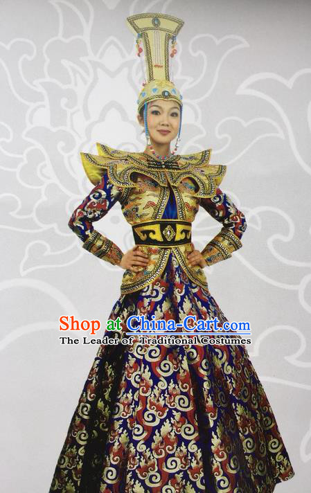 Traditional Chinese Mongol Nationality Dance Costume Celebration Mongolian Robe, China Mongolian Minority Nationality Princess Dress Clothing for Women