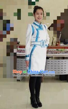 Traditional Chinese Mongol Nationality Dance Costume Handmade White Mongolian Robe, China Mongolian Minority Nationality Dress Clothing for Women