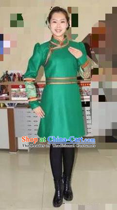 Traditional Chinese Mongol Nationality Dance Costume Handmade Green Wool Mongolian Robe, China Mongolian Minority Nationality Dress Clothing for Women