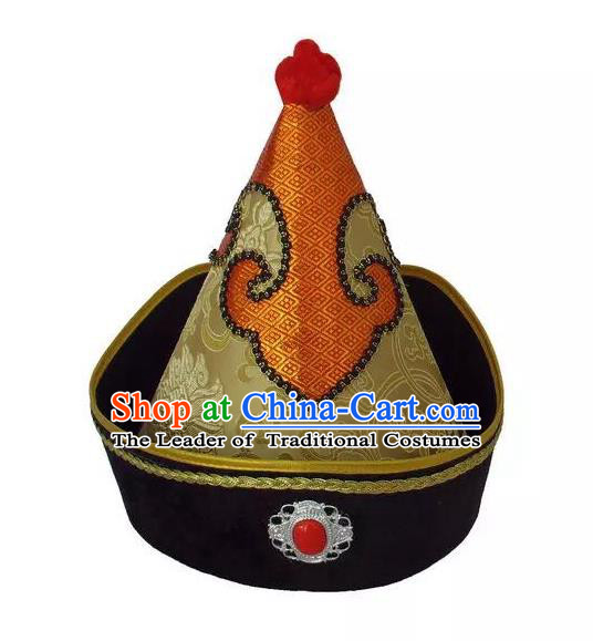 Traditional Handmade Chinese Mongol Nationality Dance Golden Headwear Prince Hat, China Mongolian Minority Nationality Royal Highness Headpiece for Men