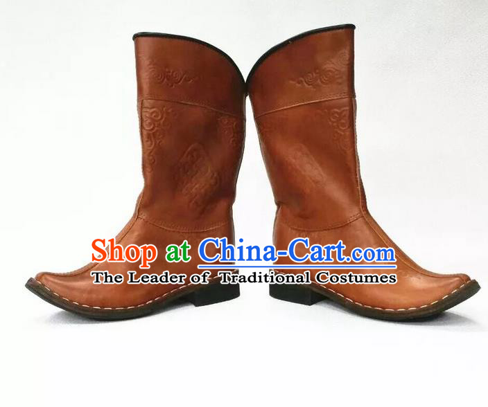 Traditional Chinese Minority Mongol Nationality Ethnic Minorities Mongolian Boots Mongolian Jockey Boots Tanks Boots for Men