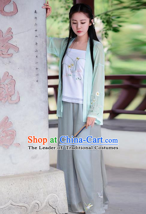 Traditional Ancient Chinese Costume Song Dynasty Embroidery Blouse and Pants, Elegant Hanfu Clothing Chinese Young Lady Costume for Women