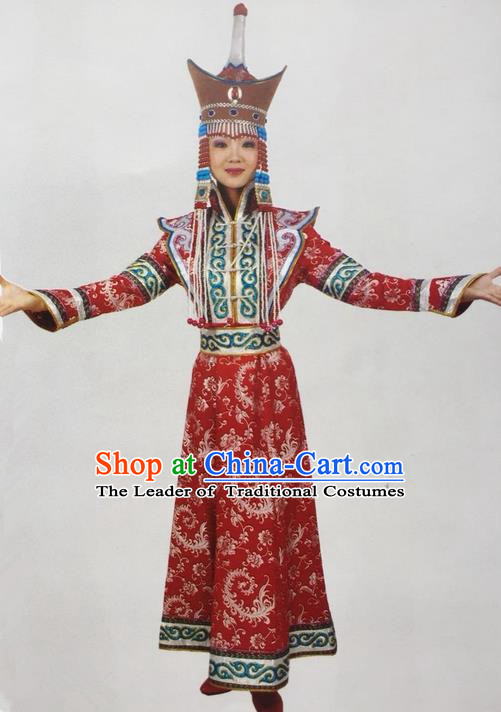 Traditional Chinese Mongol Nationality Dance Costume Bride Mongolian Robe, China Mongolian Minority Nationality Princess Dress Clothing for Women
