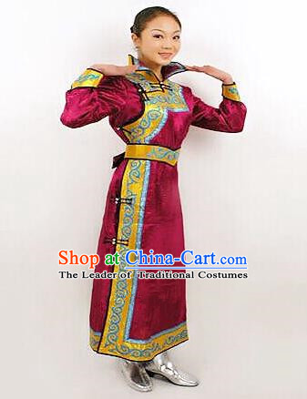 Traditional Chinese Mongol Nationality Dance Costume Bride Purple Mongolian Robe, China Mongolian Minority Nationality Princess Dress Clothing for Women