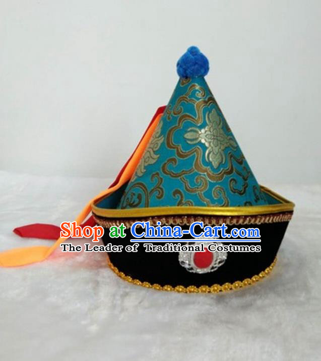Traditional Handmade Chinese Mongol Nationality Dance Headwear Prince Green Hat, China Mongolian Minority Nationality Children Royal Highness Headpiece for Kids