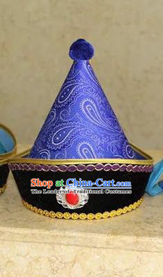 Traditional Handmade Chinese Mongol Nationality Dance Headwear Prince Purple Hat, China Mongolian Minority Nationality Children Royal Highness Headpiece for Kids