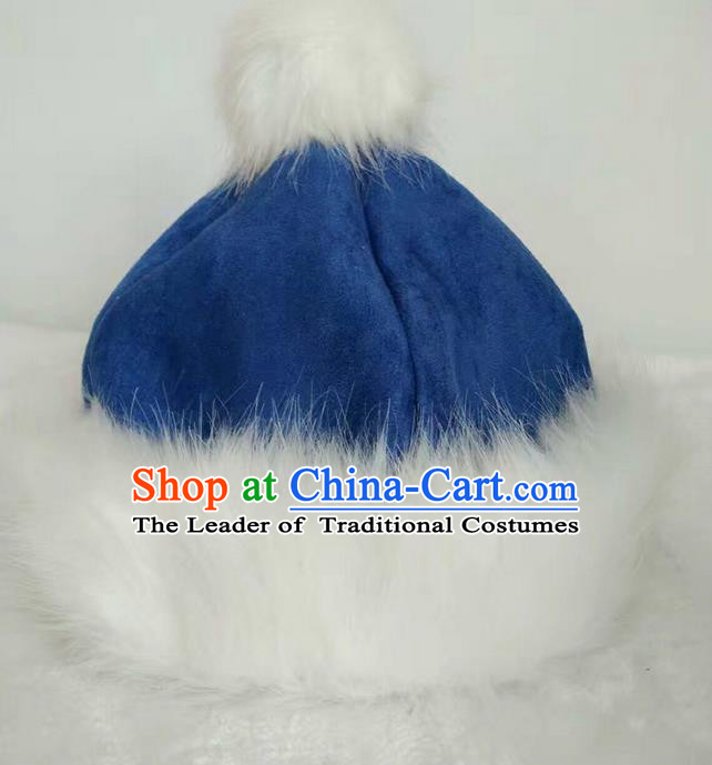 Traditional Handmade Chinese Mongol Nationality Dance Headwear Cotton-padded Hat, China Mongolian Minority Nationality Children Blue Headpiece for Kids