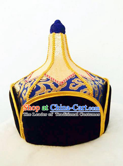 Traditional Handmade Chinese Mongol Nationality Dance Headwear Royal Highness Royalblue Hat, China Mongolian Minority Nationality Children Bridegroom Headpiece for Kids