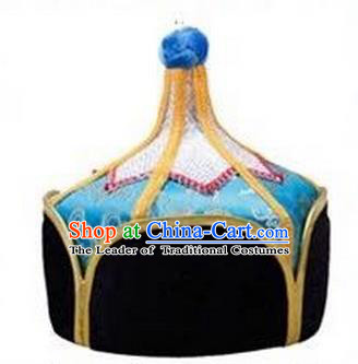 Traditional Handmade Chinese Mongol Nationality Dance Headwear Royal Highness Light Blue Hat, China Mongolian Minority Nationality Children Bridegroom Headpiece for Kids