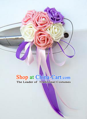 Top Grade Wedding Accessories Decoration, China Style Wedding Car Ornament Six Flowers Bride Pink White and Purple Rose Ribbon Garlands