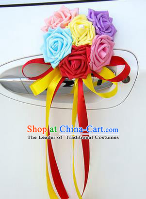 Top Grade Wedding Accessories Decoration, China Style Wedding Car Ornament Six Flowers Bride Colorful Rose Ribbon Garlands