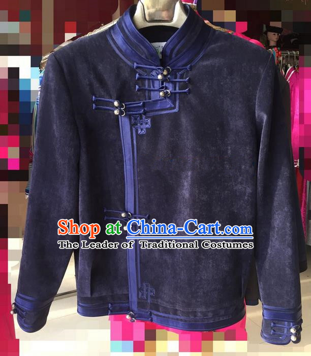 Traditional Chinese Mongol Nationality Dance Costume Handmade Blue Mongolian Coat, China Mongolian Minority Nationality Clothing for Men