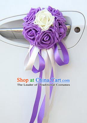Top Grade Wedding Accessories Decoration, China Style Wedding Car Ornament Six Flowers Bride Purple and White Rose Ribbon Garlands