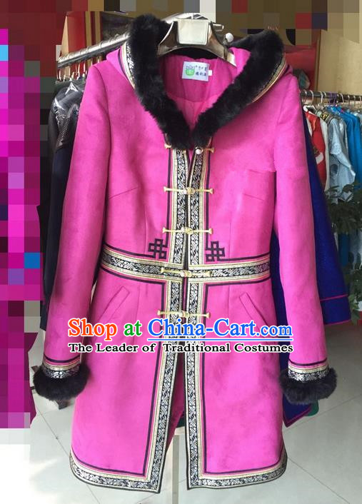 Traditional Chinese Mongol Nationality Dance Costume Handmade Mongolian Cotton Wadded Robe, China Mongolian Minority Nationality Clothing for Women