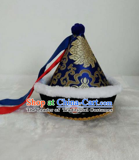 Traditional Handmade Chinese Mongol Nationality Dance Headwear Children Hat, China Mongolian Minority Nationality Royal Highness Blue Headpiece for Kids