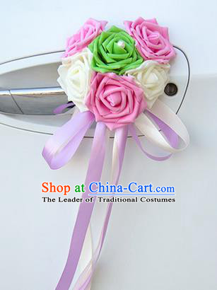 Top Grade Wedding Accessories Decoration, China Style Wedding Car Ornament Six Flowers Bride Pink and White Rose Ribbon Garlands