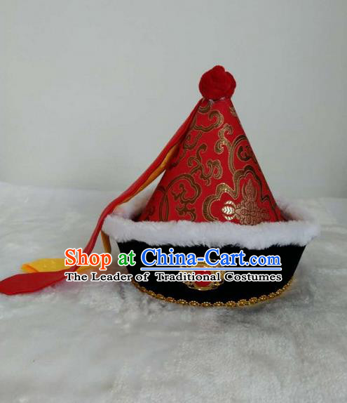 Traditional Handmade Chinese Mongol Nationality Dance Headwear Children Hat, China Mongolian Minority Nationality Royal Highness Red Headpiece for Kids