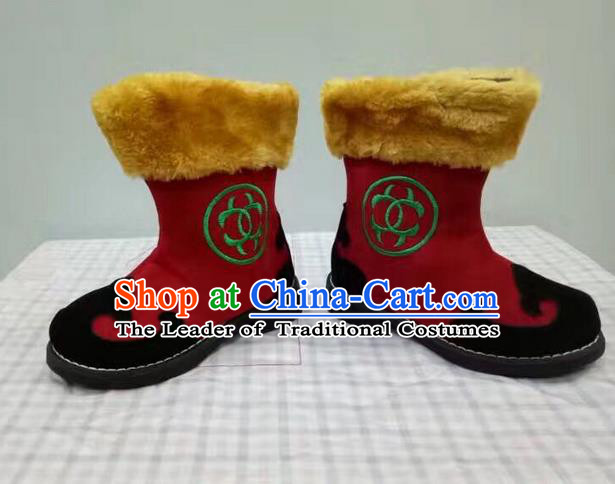 Traditional Chinese Minority Mongol Nationality Ethnic Minorities Children Mongolian Boots Red Boots for Kids