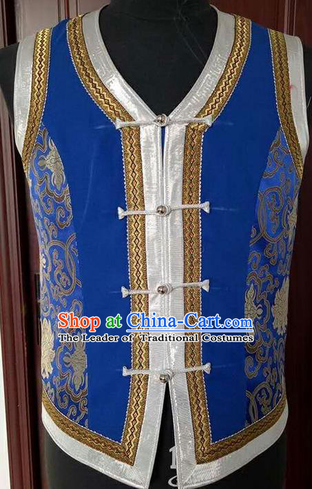Traditional Chinese Mongol Nationality Dance Costume Handmade Mongolian Satin Vest, China Mongolian Minority Nationality Waistcoat Clothing for Men