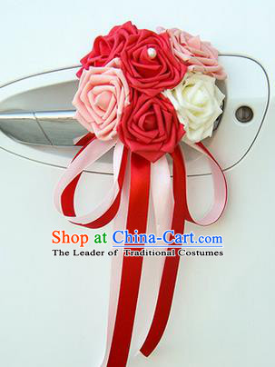 Top Grade Wedding Accessories Decoration, China Style Wedding Car Ornament Six Flowers Bride Red and Pink Rose Ribbon Garlands