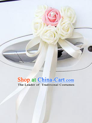 Top Grade Wedding Accessories Decoration, China Style Wedding Car Ornament Six Flowers Bride White Rose Ribbon Garlands