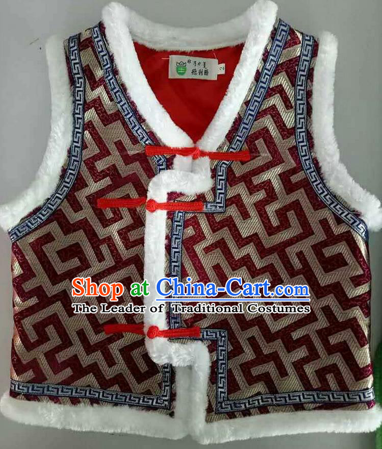 Traditional Chinese Mongol Nationality Dance Costume Handmade Purplish Red Mongolian Vest, China Mongolian Minority Nationality Waistcoat Clothing for Kids