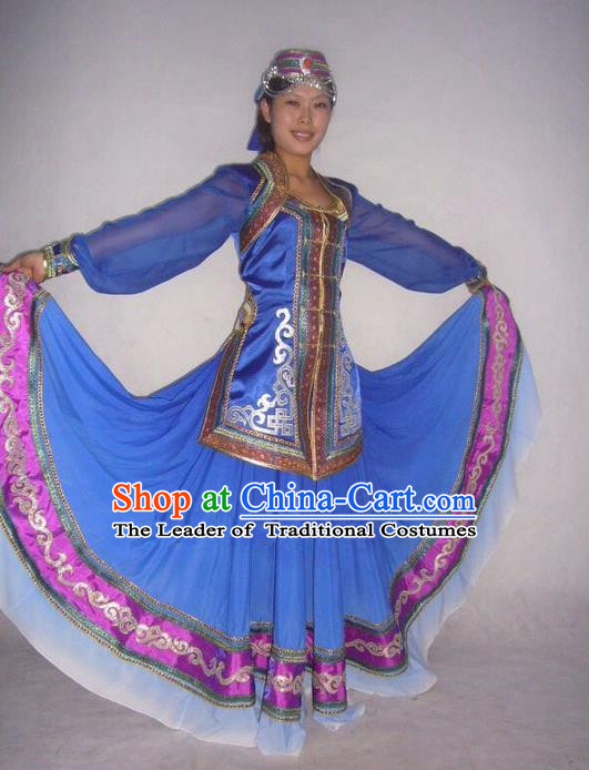 Traditional Chinese Mongol Nationality Dance Costume Handmade Mongolian Robe, China Mongolian Minority Nationality Blue Dress Clothing for Women